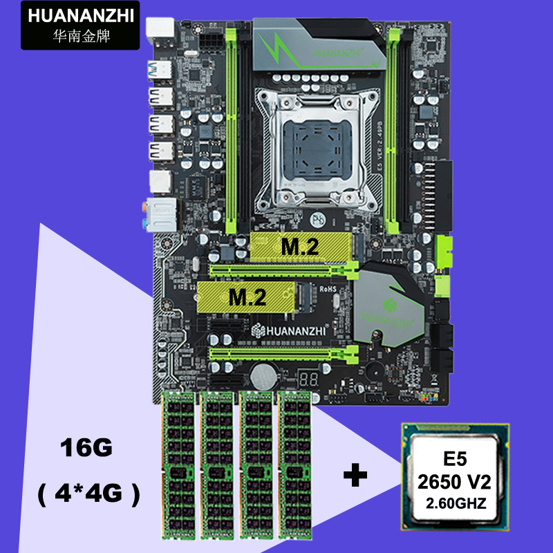 HUANAN ZHI X79 motherboard CPU RAM bundle discount motherboard with M.2 slot CPU Xeon E5 2650 V2 RAM 16G(4*4G) 2 years warranty 1