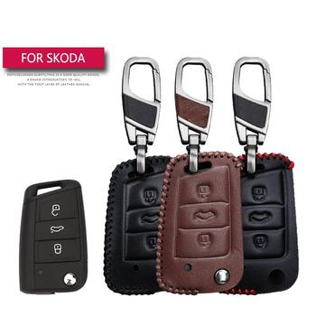 цена на Leather Car Key Case Cover For Skoda Octavia Combi A7 Rapid Yeti Fabia Superb Protection Key Shell Skin Bag Only case