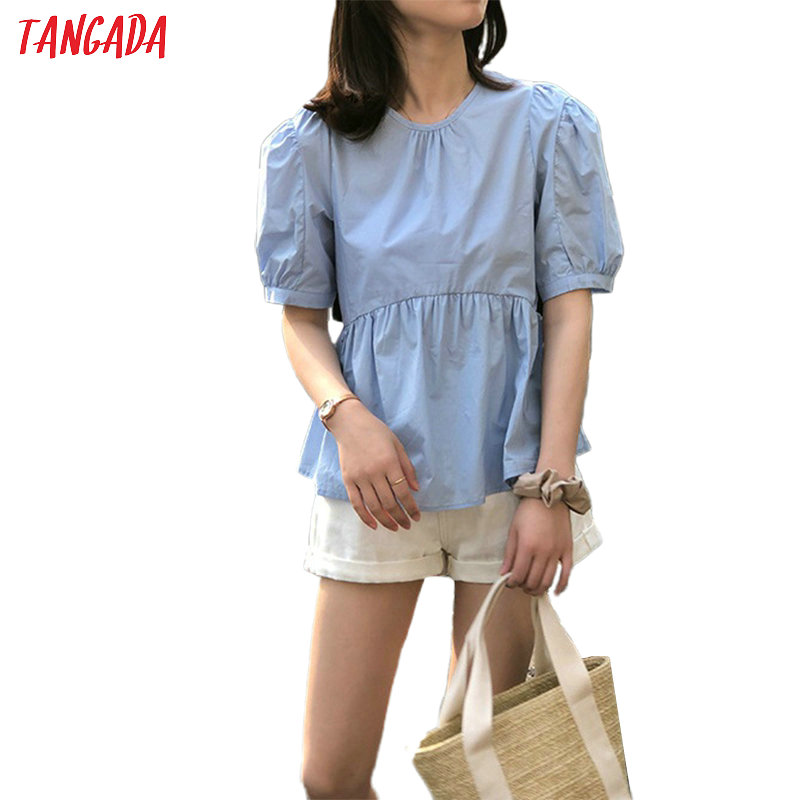 Tangada Women French Style Cotton Shirts Short Sleeve Back Buttons O-neck Elegant Ladies High Street Tops High Quality ASF53