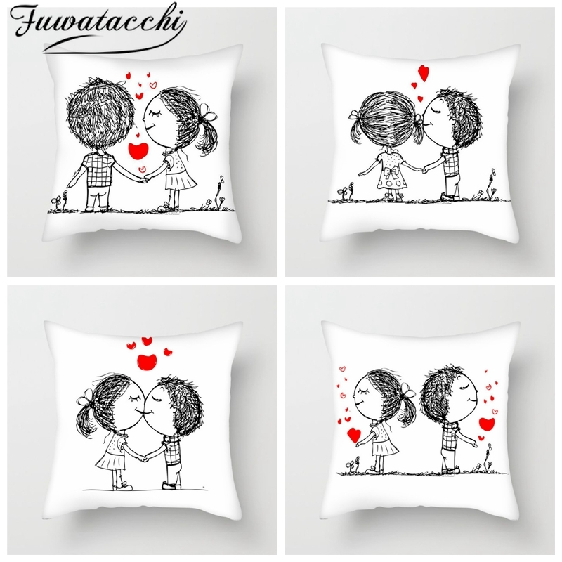 Fuwatacchi Cute Couples Pillow Case Romantic Lover Pillow Cover Home Sofa Decor Valentine's Day Gift Sweet Love Cushion Cover