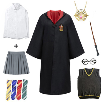 Cosplay Potter Costume Magic Robe Cape Hermione Suit Tie Scarf Wand Glasses Godric Gift Potter Cosplay Halloween Party Clothes harriom coin bank 18 pcs coin with bag cosplay potter toy halloween magic world party jouet gift