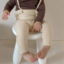 Newborn Trousers Ribbed Cotton Leggings For Baby Girl Overalls Infant Boys Strap Pants 3 Colors 2021 Spring New Arrivel