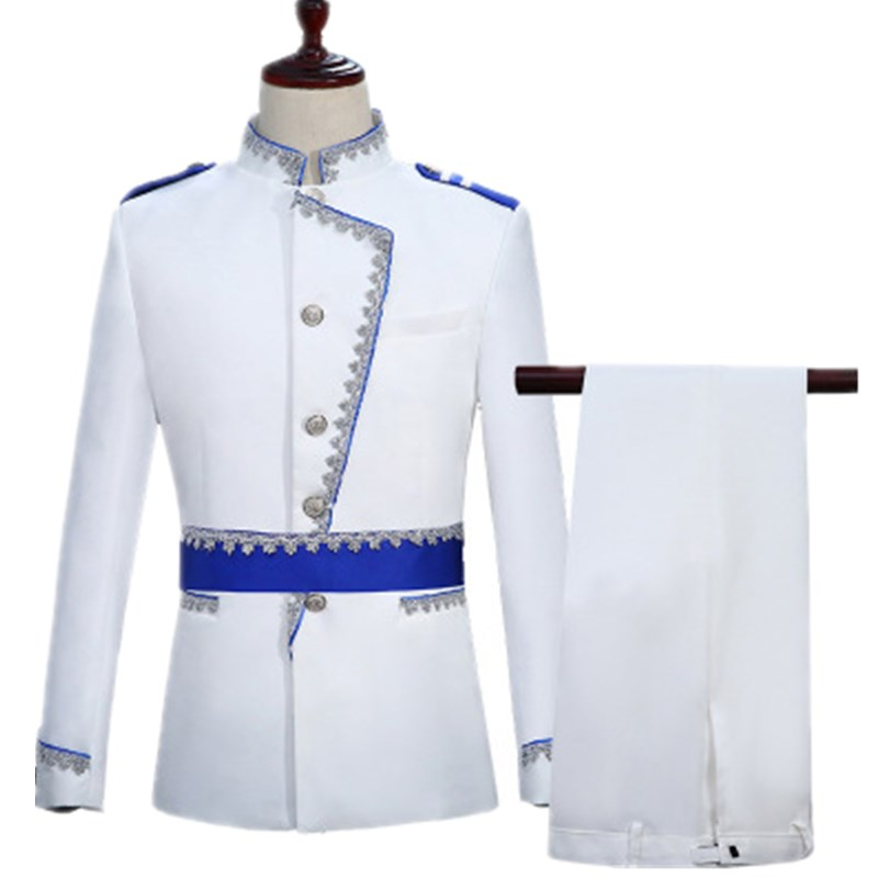 New Europe Palace Prince Wedding Suit Blazer Men White Formal Navy Suit Set Festival Stage Performance Military Dress Outfit