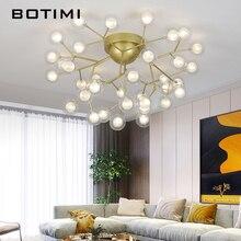 BOTIMI Modern 220V LED Ceiling Lights In Metal Lamp Body For Foyer Glass Ball Luminaire Romantic Decor Lighting