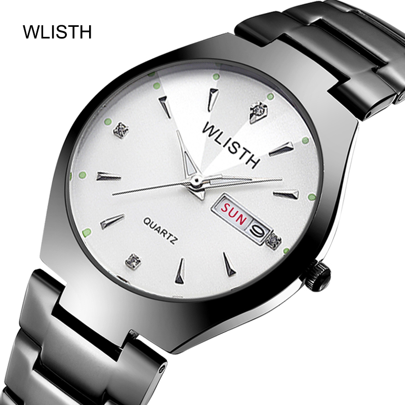 Women Quartz Watches Fashion Chinese-English Calendar Tungsten Steel Waterproof Business Men Quartz Watches Lovers Watches