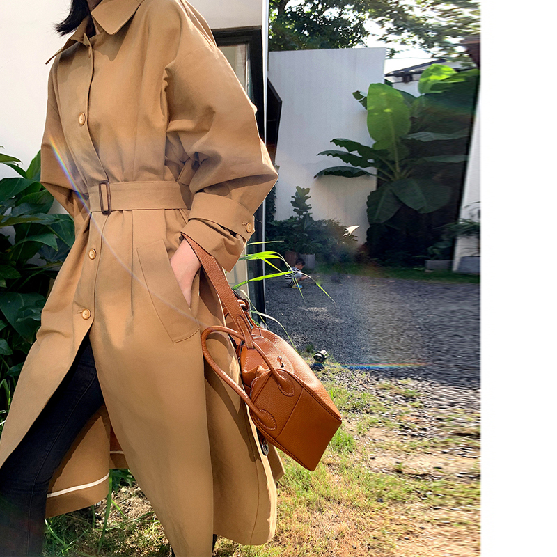 Turn Down Collar Single-breasted Women   Trench   Coat Vintage Khaki Autumn Winter Belted Pocket Long Outwear Casual Ladies Overcoat
