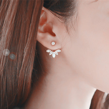 Hot Crystal Flower Stud Earrings for Women Fashion Jewelry Gold Silver Rhinestones Earrings Gift for Party and Best Friend 4