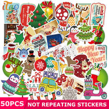 50pcs Pack Cartoon Christmas Stickers Waterproof PVC Luggage Motorcycle Bicycle Water Bottle Skateboard Funny Sticker Kids Toys(China)