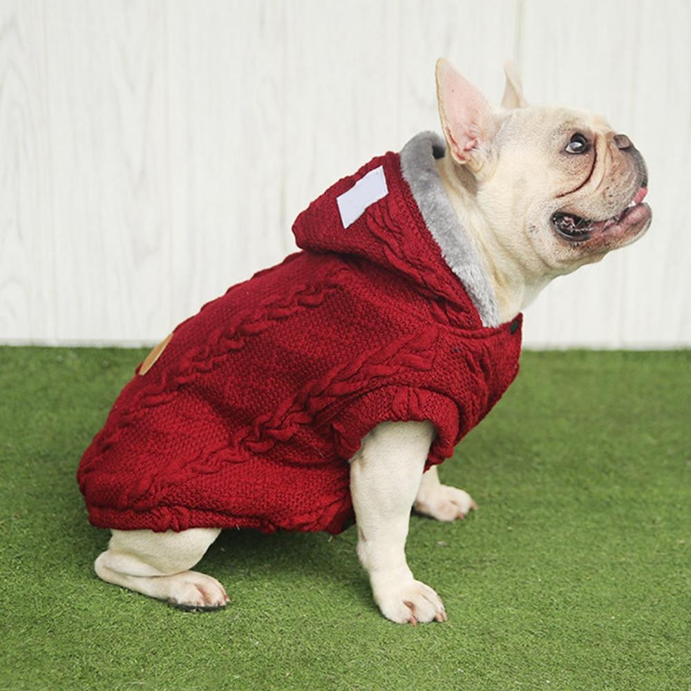 Cálido confortable para Mascota Perro Gato Suave Algodón elástico de punto Jersey De Cuello Rollo De Invierno