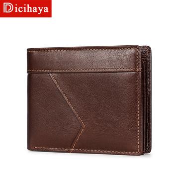 DICIHAYA RFID Theft Protec portmonetka na zamek błyskawiczny mężczyźni oryginalne skórzane portfele projekt znanej marki portfel męski mężczyzna pieniądze portfele portfele tanie i dobre opinie PRAWDZIWA SKÓRA Skóra bydlęca CN (pochodzenie) SHORT 0 15kg POLIESTER genuine leather+Polyester(inside) Stałe moda TP-211