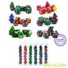 Bescon мини двухцветные многогранные игральные кости, набор 10 мм, маленькие кости набор D4-D20 в трубке, 6 новых разных цветов 42 шт