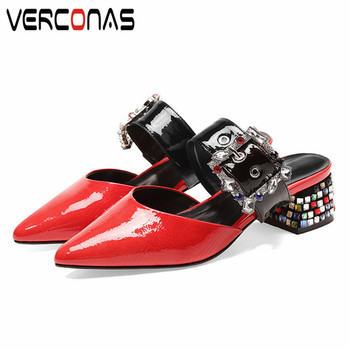 VERCONAS 2020 Mules Woman Sandals Woman Pumps Brand Design Genuine Leather Rhinestone Pointed Toe Square High Heeled Shoes Woman