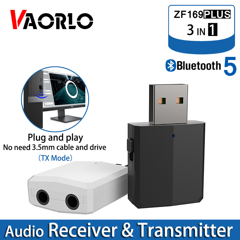 VAORLO Bluetooth 5.0 Audio Receiver Transmitter 3 IN 1 Stereo 3.5MM USB Bluetooth Wireless Adapter For TV PC Car Kit Headphones