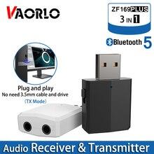 VAORLO receptor y transmisor de Audio 3 en 1, Bluetooth 5,0, adaptador inalámbrico USB de 3,5 MM para auriculares, para TV, PC y coche