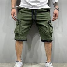 Summer drawstring multi-pocket Casual shorts Men's jogging  fitness streetwear short pants men sport Fashion hip cargo shorts