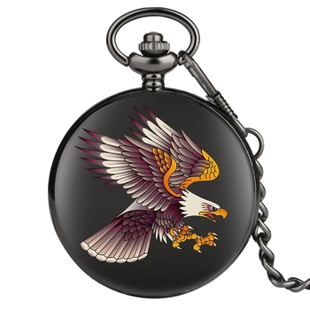 Creative 3D Flying Eagle Quartz Pocket Watches Pendant Chain Mens Womens Souvenir Gifts Fob Clock Relogio De Bolso Drop Shipping - discount item  28% OFF Pocket & Fob Watches