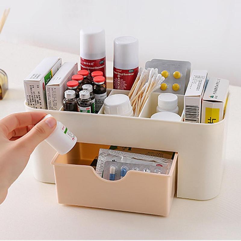 Plastic 6 Grids Make Up Jewelry Storage Box Makeup Organizer Box With Drawer For Cosmetics Medicine Desk Organizer Holder Case