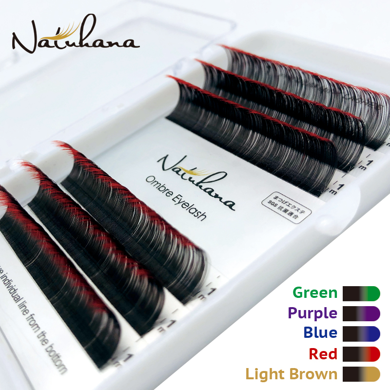 NATUHANA Korea PBT 6Rows Ombre Color Eyelash Extension Individual Red Blue Purple Green Gradients Mink Eyelashes False Lashes