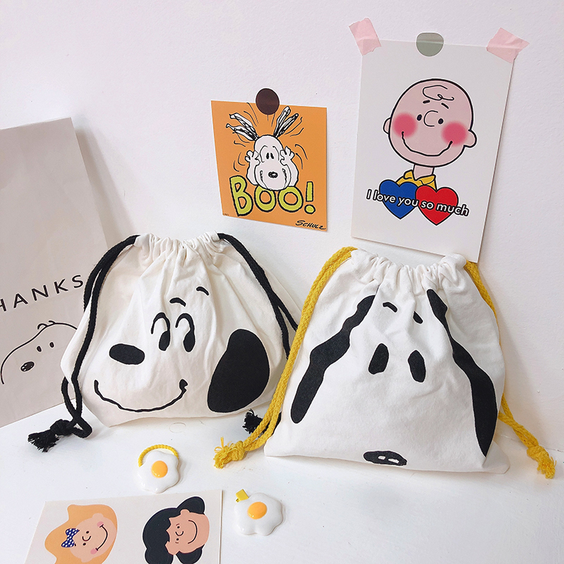 Cartoon With Simple Rogue Dog Canvas Bag Large Capacity Student Pen Bag Pencil Case Document Bag School Stationery