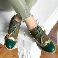 NouC Handmade Hotsales Pink Silver Brand Oxford Shoes For Woman Genuine Leather Round head Flats Brogues Women Oxfords Shoes