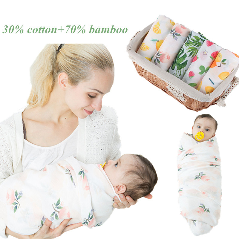 High Quality Baby Swaddle Wraps 70% Bamboo+ 30% Cotton Muslin Blankets Newborn Soft Multi-use Crib Stroller Quilt Milestone