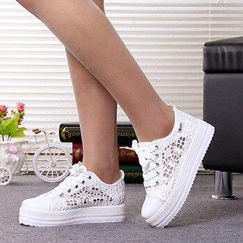 Summer Women Shoes Casual Cutouts Lace Canvas Shoes Hollow Floral Breathable Platform Flat Shoe White Black 368