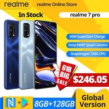 Realme 7 Pro глобальная Версия 8 ГБ 128 65 Вт SuperDart заряда 64-мегапиксельная четырехъядерная камера AMOLED в полноэкранном режиме-дисплей смартфон с отп...