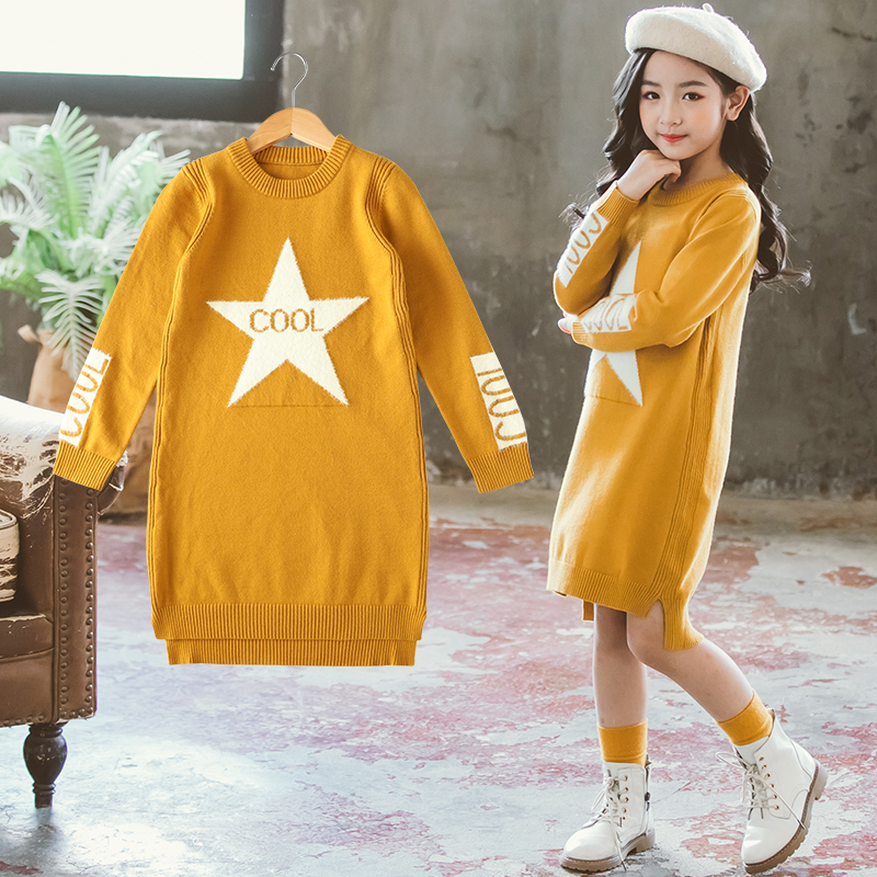 Girl Dress Sweaters Autumn Fall Winter Soft Warm Baby Clothes Top Outfits Teenagers Knitwear 6