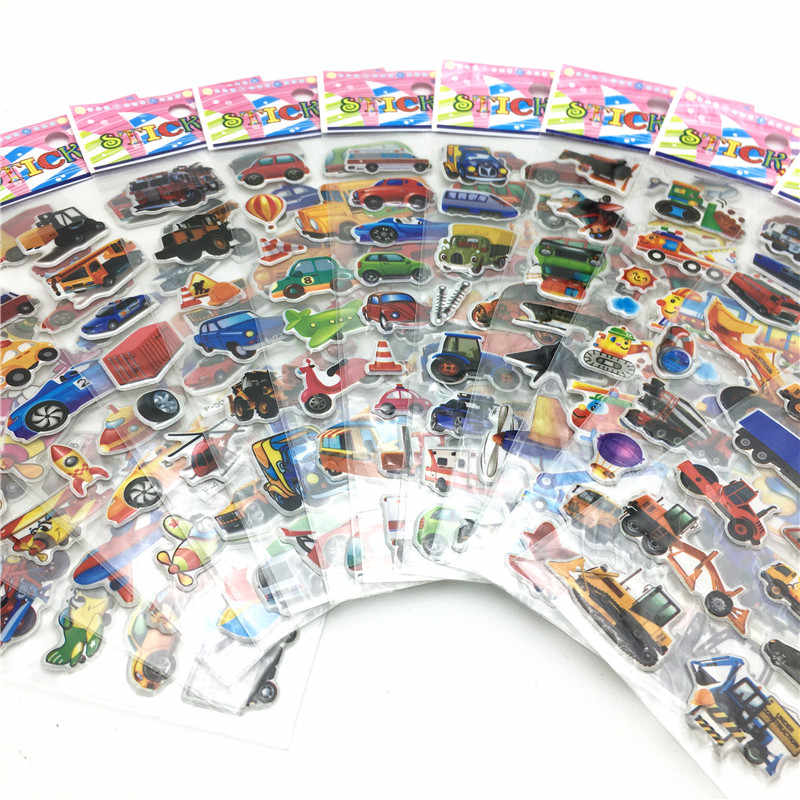 Happyxuan 50 arkuszy śliczne dzieci 3D Puffy naklejki zwierzęta samochody Cartoon Ocean ryby chłopcy prezent szkoła nauczyciel nagroda Scrapbooking zabawka