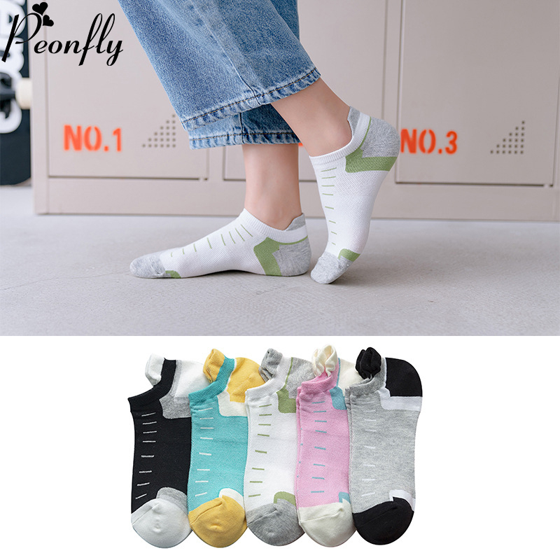PEONFLY Women Boat Socks Casual Striped Printed Combed Cotton Slippers Happy Fashion Cotton Ankle Funny Socks Women