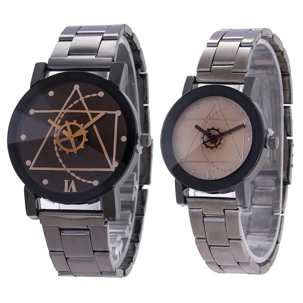 Fashion Men Women Lovers Watches Gear Round Alloy Dial Stainless Steel Strap Analog Quartz Couple Wrist Watch zegarek damski