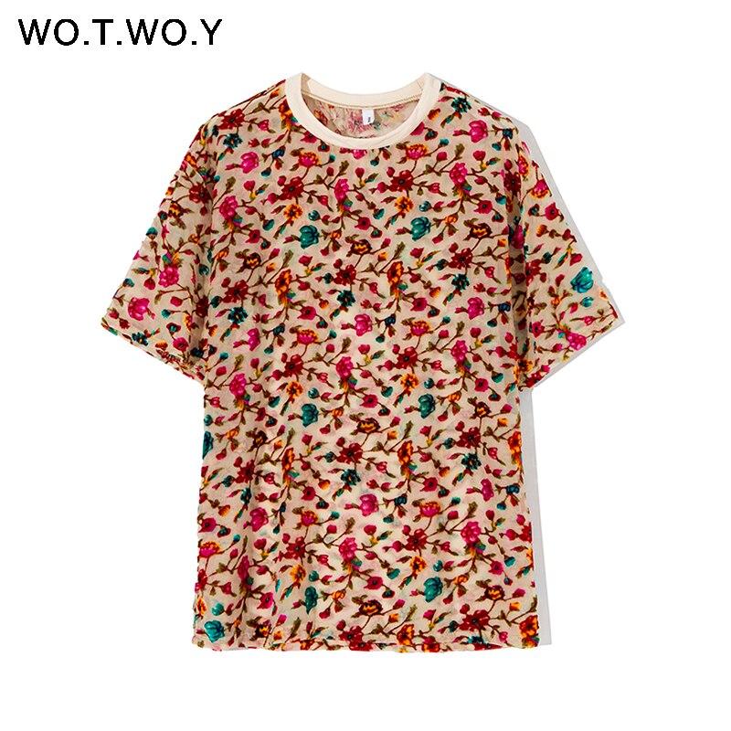 WOTWOY Flower Flocking Summer T-shirt Women High Street Transparent Tops Tee Shirt Femme Vintage Mesh Top Women Korean Clothes