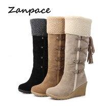 Otoño 2019 talla grande 43 botas de nieve cuñas mantener caliente botas de invierno para mujeres borla de tacón alto punta redonda rodilla alta zapatos de mujer Zapatos