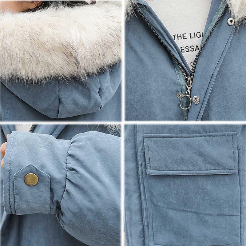 KMVEXO 2019 Mode Vrouwen Winter Jas Oversized Met Bont Hooded Vrouwelijke Winter Parka Lange Warm Thicken Twee Grote Zakken Jas