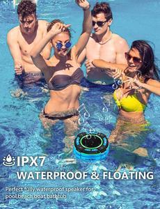 Image 3 - Basspal F021 Tws IPX7 Waterdichte Bluetooth Douche Luidspreker, Draagbare Draadloze Luidspreker Met Led Lichtshow, Fm Radio, zuignap