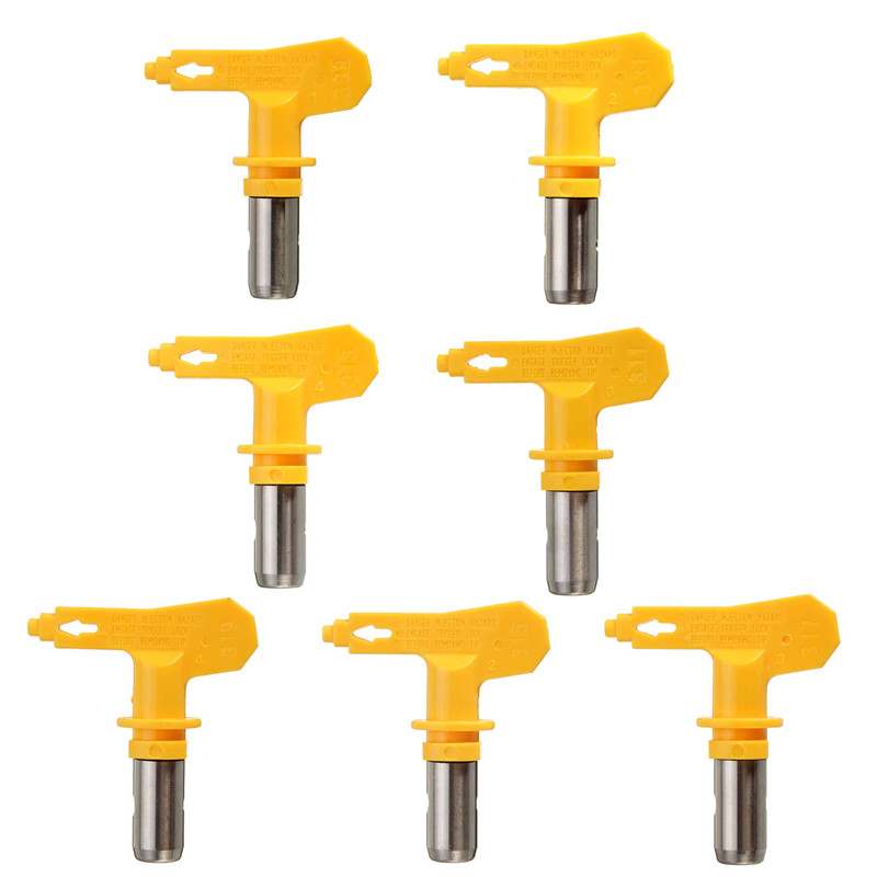 Airless Paint Spray Gun Tungsten Nozzle Tungsten Steel Reversible Spray Gun Tip Nozzle Accessoies Tool Yellow Different Type