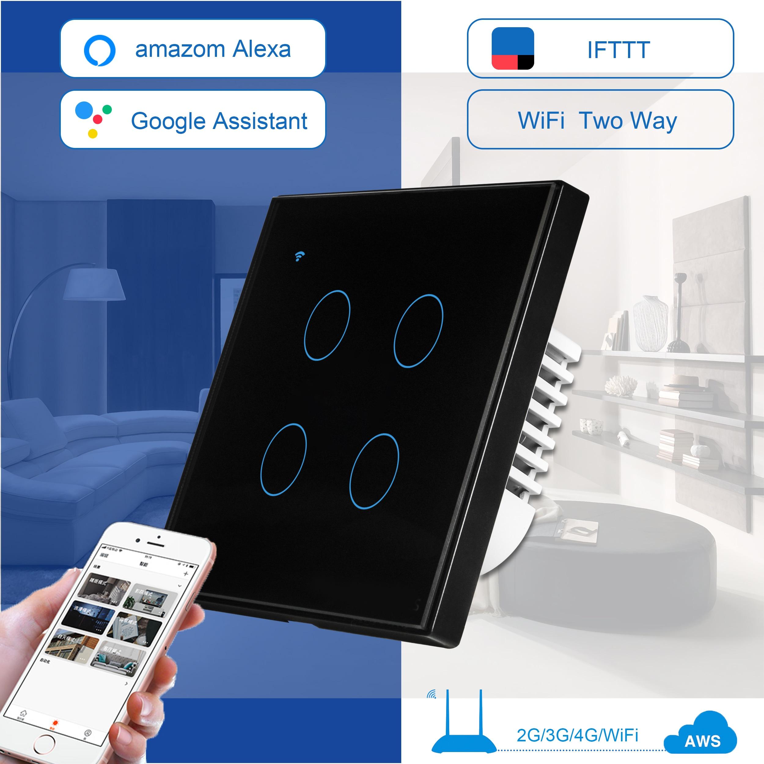 Interrupteur tactile Standard EU/UK 4 voies 2 voies, interrupteur mural intelligent, interrupteur de lumière tactile contrôle du téléphone portable