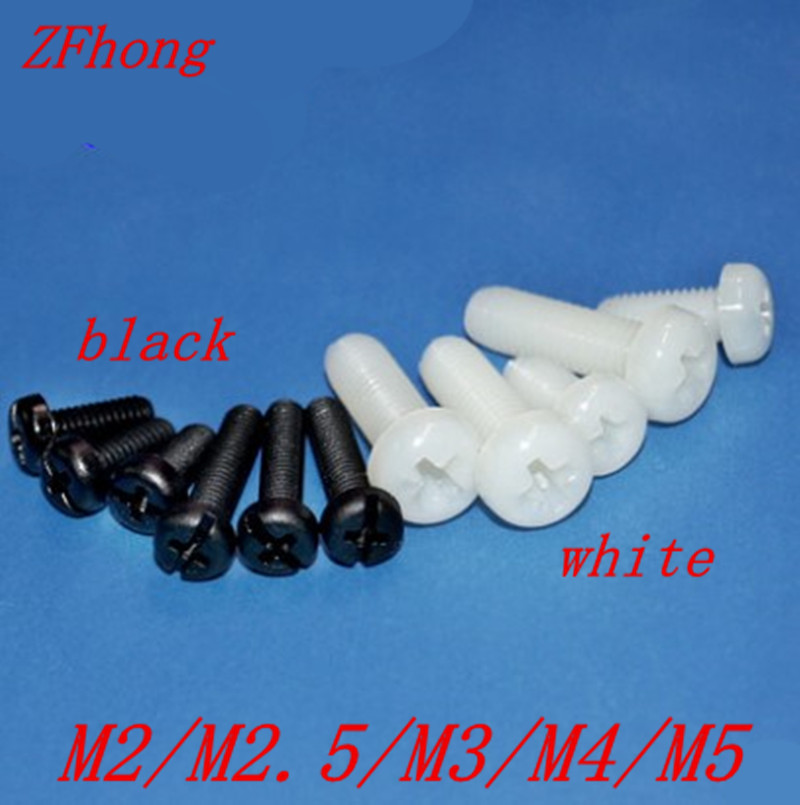 20-50pcs Nylon Screw M2 M2.5 M3 M4 M5 White Or Black Nylon Plastic Insulation Phillips Cross Recessed Round Pan Head  Screw