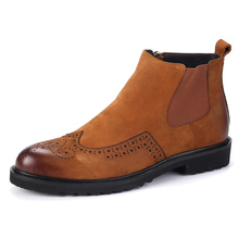 Retro Wing Tip Brogue Mens Ankle Boots Round Toe Block Low Heel Chelsea Boots Top