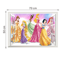 Disney Princess 3Dview Window Cartoon Wall Stickers For Kids Rooms Decals Home Decoration