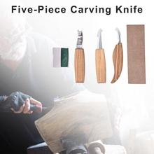 5 Pcs/Set Timber Carving Tools Kit Leather Strop Polishing Compound Three Blades Complete Carving Set For Timber Working