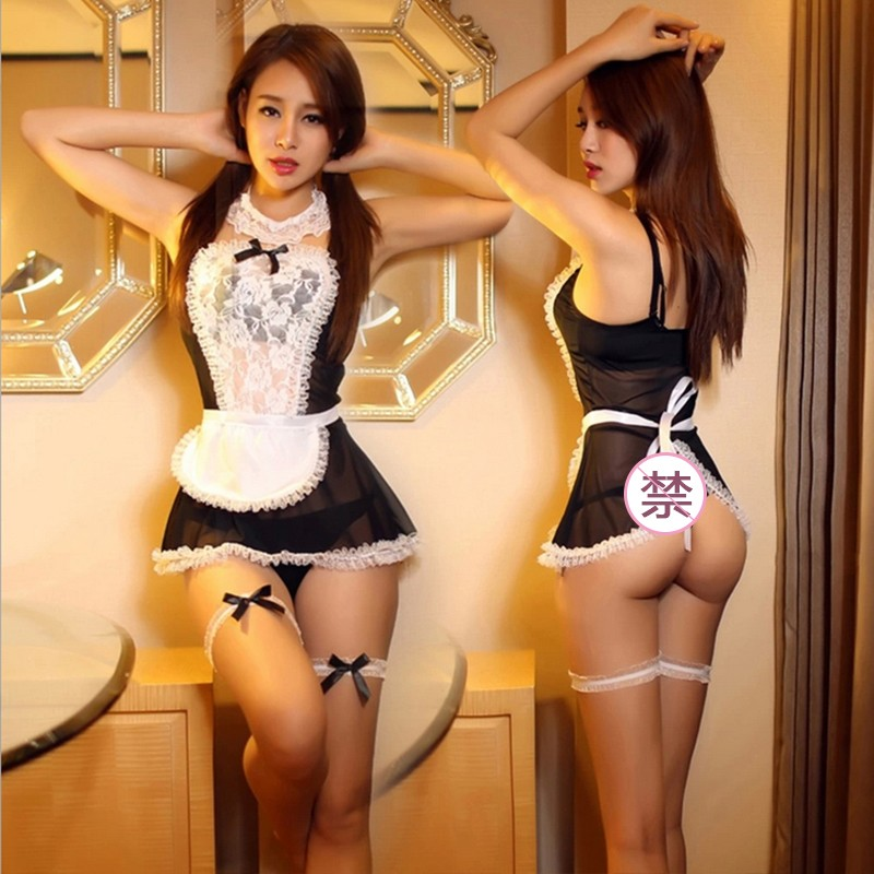 Maid Uniform Costumes Role Play Women Sexy Lingerie Underwear Lovely Female Lace Erotic Costume  Perspective Adult Products