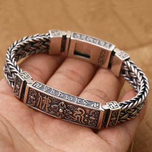 Image 5 - Pure Silver Sterling 925 Solid Silver Religious Buddha Lection Braided Lock S925 Bangle Bracelet (HY3A)