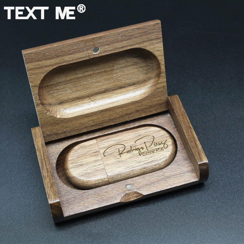 TEXT ME LOGO Print Walunt  Wood Maple+box Model Usb Flash Drive Usb2.0 4GB 8GB 16GB 32GB 64GB Photography Gift