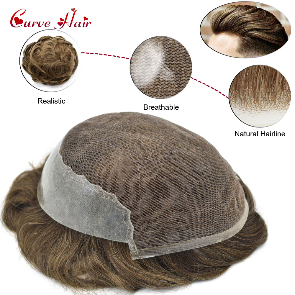Human Hair Toupee French Lace Front Hand-Tied Mens Replacement Human Hairpiecs Q6