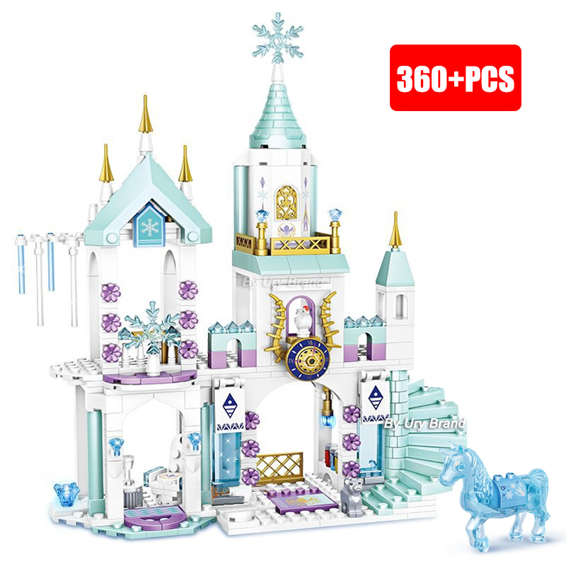 Girls Friends Princess's Ice Playground Castle House Set Movies Horse Dolls DIY Building Blocks Toys For Kid's Creative Gifts