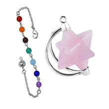 FYJS Unique Silver Plated MerKaBa Natural Rose Pink Quartz Pendant with Stone Beads Chain Jewelry shiny eyeglass brass chain spectacle retainer electro plated with silver embedded with black acrylic beads
