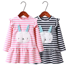 цена на Girls Dress Cotton Cartoon Bunny Long Sleeve Princess Dress Kids Clothes Baby Party Dress For Girls Clothing 2 3 4 5 6 7 Years