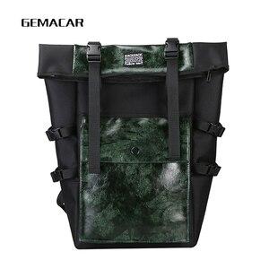 Image 3 - レトロユニセックスバックパック大容量puレザー高品質bagpack観光ユース多機能バッグイングランドスタイル