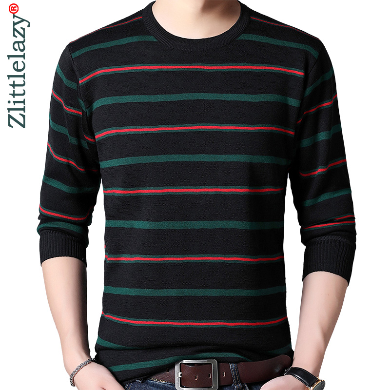 2019 Striped Thick Warm Winter Striped Knitted Pull Sweater Men Wear Jersey Mens Pullover Knit Mens Sweaters Male Fashions 9306